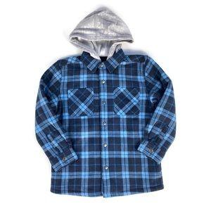 Dry Goods Co. Freedom Foundry Sherpa Lined Fleece Jacket w Hood Blue Plaid 7/8